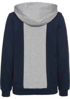 Трикотажная куртка (светло-серый меланж/синий) Bonprix