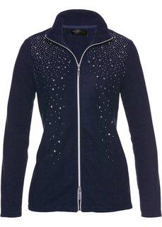 Флисовая куртка с блестящими камешками (темно-синий/серебристый) Bonprix