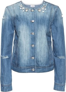 Джинсовая куртка со стразами (светло-голубой деним) Bonprix