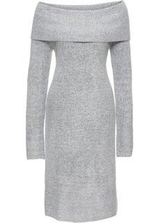 Вязаное платье с открытыми плечами (светло-серый меланж) Bonprix