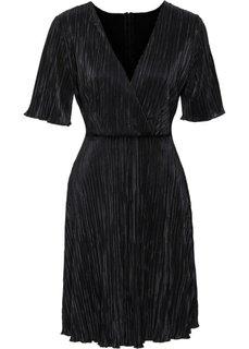 Плиссированное платье (черный) Bonprix