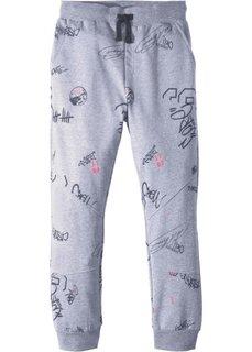 Трикотажные брюки со стильным принтом (серый меланж) Bonprix