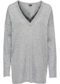 Пуловер с кружевной отделкой (серый меланж) Bonprix