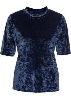 Бархатная футболка (темно-синий) Bonprix
