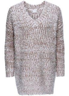 Вязаный пуловер (серо-коричневый/белый) Bonprix