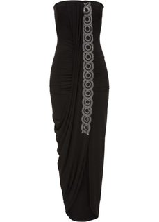 Платье с эффектом запаха (черный) Bonprix