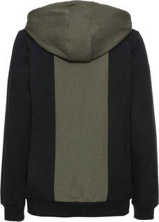 Трикотажная куртка (оливковый/черный) Bonprix