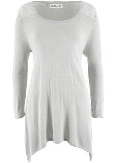 Пуловер с удлиненными боками и рукавом 3/4, дизайн Maite Kelly (светло-серый меланж) Bonprix