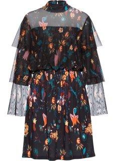 Платье с сетчатой вставкой и принтом (черный/желтый/светло-коричневый с рисунком) Bonprix