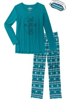 Пижама (бирюзовый кобальтовый с рисунком) Bonprix