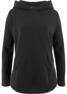 Флисовый пуловер-пончо (черный) Bonprix
