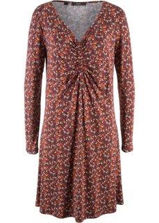 Платье с длинным рукавом (кленово-красный в цветочек) Bonprix