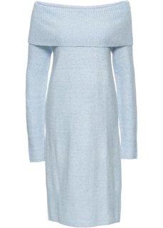 Вязаное платье с открытыми плечами (нежно-голубой меланж) Bonprix