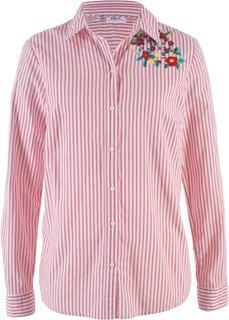 Блузка с вышивкой и длинным рукавом (красный/белый в полоску) Bonprix