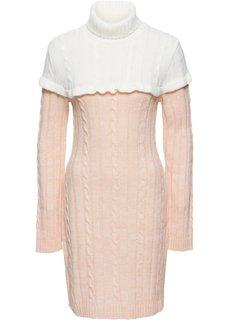 Вязаное платье с высоким воротником (нежно-розовый/белый) Bonprix