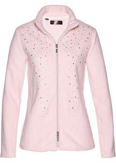 Флисовая куртка с блестящими камешками (нежно-розовый/серебристый) Bonprix