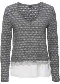 Пуловер со вставкой под блузку (серый меланж/цвет белой шерсти) Bonprix