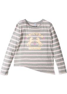 Асимметричная полосатая футболка (светло-серый меланж/нежно-розовый в полоску) Bonprix