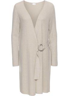 Вязаное пальто с поясом (бежевый) Bonprix