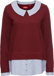 Свитшот со вставкой под блузку и длинным рукавом (красный каштан) Bonprix