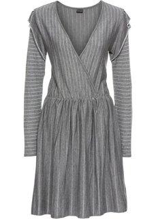 Вязаное платье с люрексом (темно-серый/серебристый в полоску) Bonprix