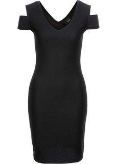 Платье с прорезями, жаккардовый материал (черный) Bonprix