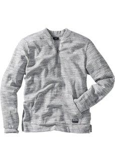 Меланжевый свитшот Regular Fit с воротником-стойкой (серый меланж) Bonprix