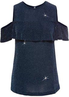 Топ с люрексом и вырезами на плечах (темно-синий) Bonprix