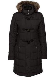 Стеганая куртка со съемным искусственным мехом (черный) Bonprix