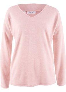 Флисовый пуловер с V-образным вырезом (нежно-розовый меланж) Bonprix