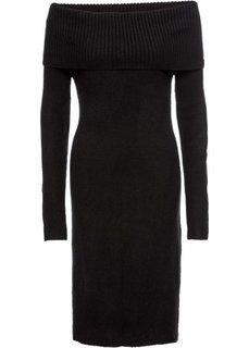 Вязаное платье с открытыми плечами (черный) Bonprix
