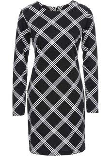 Платье из трикотажа (черный/белый в клетку) Bonprix