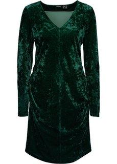 Бархатное платье с драпировками (темно-зеленый) Bonprix