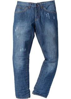 Джинсы Regular Fit Tapered, длина (в дюймах) 34 (синий «потертый») Bonprix