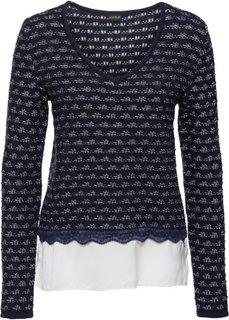 Пуловер со вставкой под блузку (темно-синий/цвет белой шерсти) Bonprix