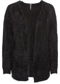 Пушистый кардиган грубой вязки (черный) Bonprix