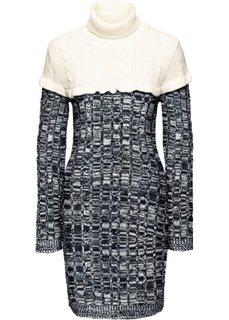 Вязаное платье с высоким воротником (черный/кремовый) Bonprix