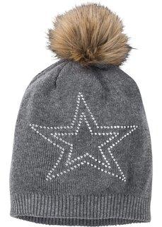 Вязаная шапочка со стразами (серый меланж) Bonprix