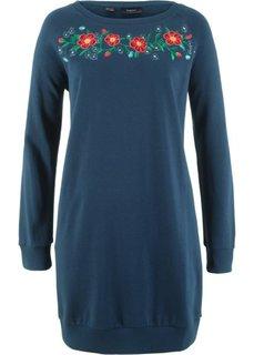 Трикотажное платье с вышивкой (темно-синий) Bonprix