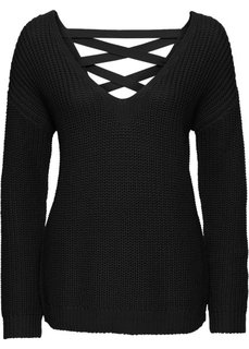Пуловер со шнуровками в области спинки (черный) Bonprix