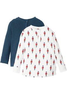 Новогодняя футболка с длинным рукавом (2 шт.) (белый с рисунком/темно-синий) Bonprix