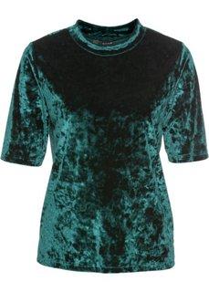 Бархатная футболка (насыщенный зеленый) Bonprix