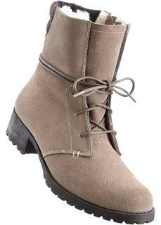Замшевые ботинки на шнурках (серо-коричневый) Bonprix