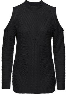 Пуловер с прорезями (черный) Bonprix