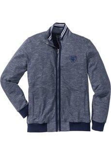 Трикотажная куртка Regular Fit с воротником-стойкой (темно-синий меланж) Bonprix