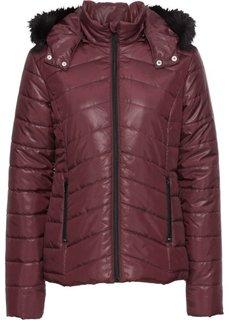 Куртка стеганая со съемным капюшоном на искусственном меху (бордовый/черный) Bonprix