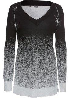 Пуловер с блестками (черный/серебристый с узором) Bonprix