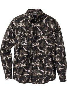 Рубашка Slim Fit с длинным рукавом (черный/серый камуфляжный) Bonprix
