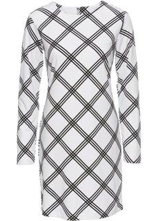 Платье из трикотажа (белый/черный в клетку) Bonprix