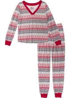 Пижама (кремовый/темно-красный/серый с принтом) Bonprix